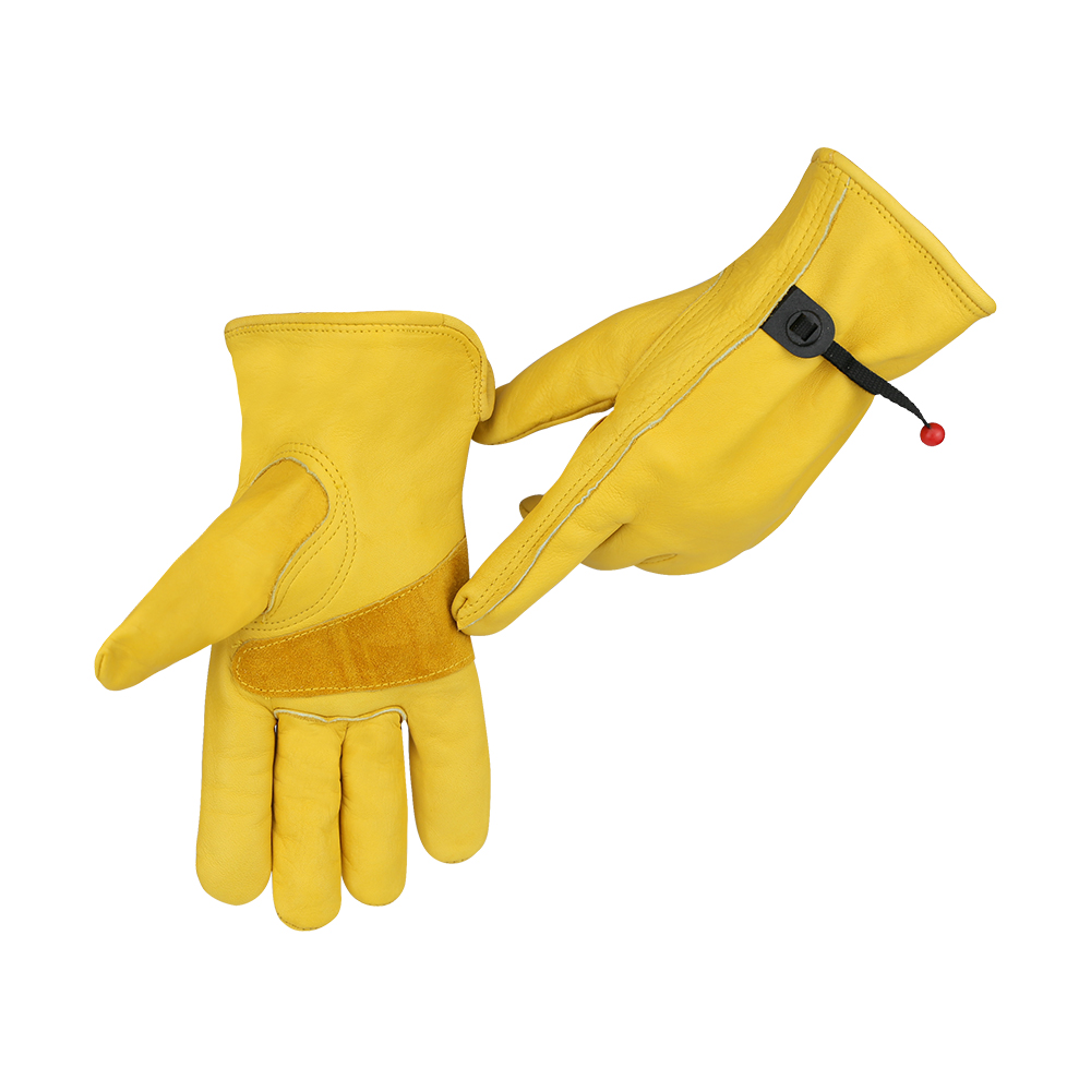 Segurança do Trabalho Luvas de couro Palma Da Mão Dupla Durável & Forte Construção de Jardinagem do Metal de Condução de Couro Do Couro Luva de Trabalho