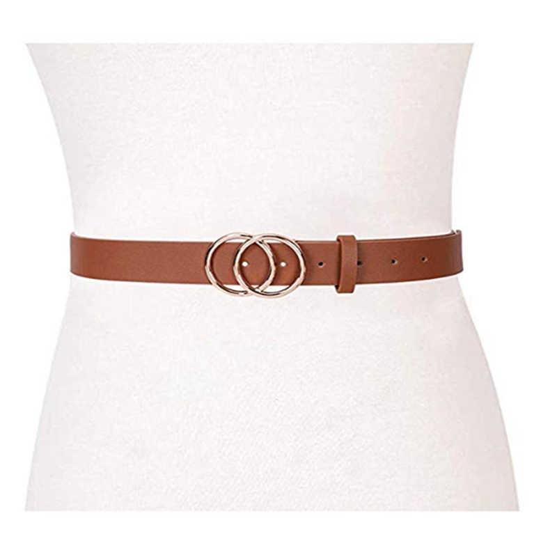 נשים של חגורת עור ג 'ינס שמלות אופנה מותניים חגורה עם זהב כפול טבעת אבזם חגורת בציר קוריאני