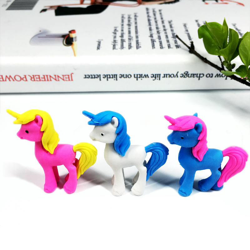 24 Pcs Creative Cartoon Unicorn Pony Cute Animal Eraser Student Stationery School Supplies Erasers For Kids
