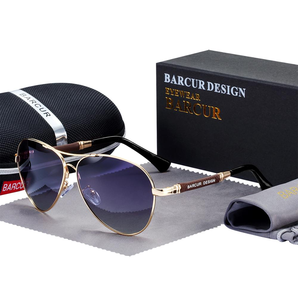 BARCUR Design Titanium Alloy Sunglasses Polarized Men's Sun Glasses Women Pilot Gradient Eyewear Mirror Shades Oculos De Sol 10