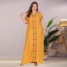 Siskakia – robe longue brodée perlée pour femmes, grande taille, Maxi, mode, ample, décontractée, col rond, manches courtes, robes arabes, été, 2020