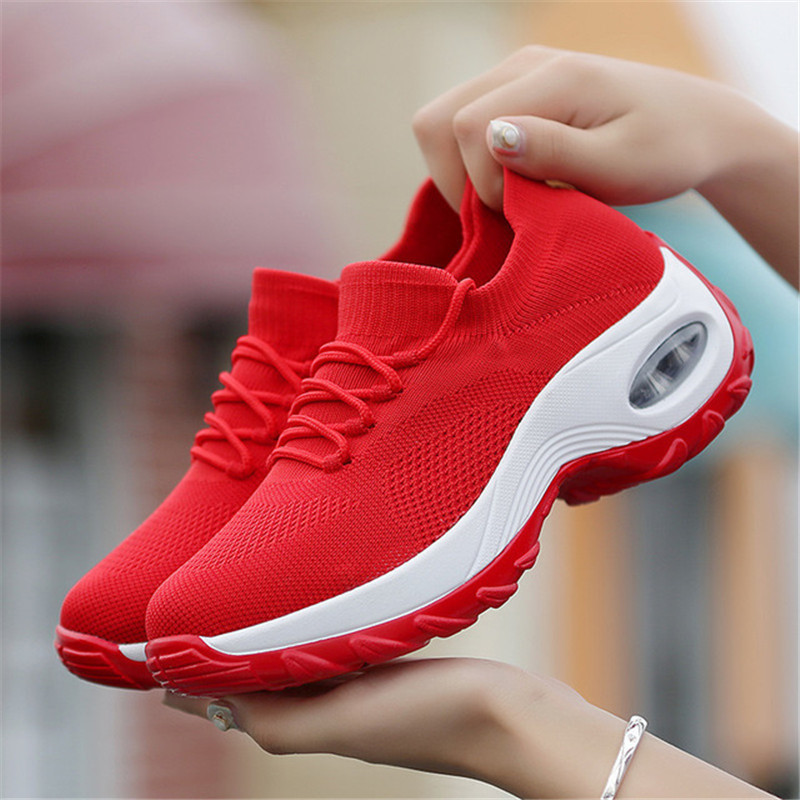 Women Shoes Spring Fly Weave Female Shoes Height Heel Trainers Shoes Lace Up Breathable Walking Shoes