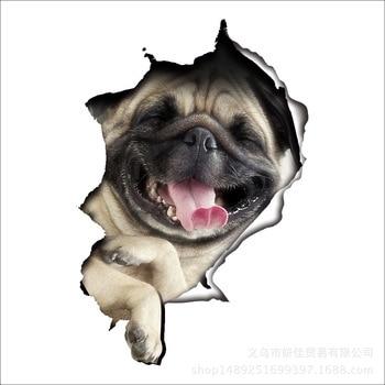 Los fabricantes de venta directa estéreo 3D cachorro feliz Día roto decoración de la pared de baño cubierta de pegatinas para portátil pegatinas