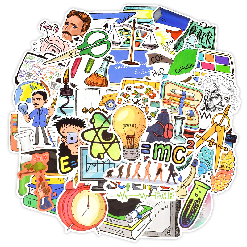 50PCS Experimental Science Education Cartoon Stickers For Car Styling Bike Phone Laptop Travel Luggage DIY TOY Decals Sticker F4