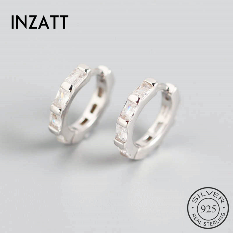 INZATT Real 925 Sterling Silve Geometric Zircon Rectangle Hoop Earrings For Fashion Women Party Fine Jewelry Cute Accessories