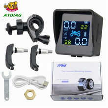 Motorcycle TPMS Motor Tire Pressure Tyre Temperature Monitoring Alarm System with 2 External Sensors motos USB Charging