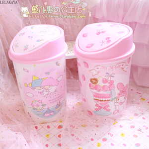 Image 4 - My Melody Cinnamoroll Pudding Dog Little Twin Star Action Figure Cartoon Household Trash Can With Lid Kitchen Bathroom Waste Bin