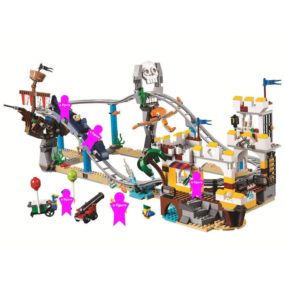 Creator 3 in 1 Pirate Roller Coaster Building Blocks Kit Bricks City Classic Model Kids Toys