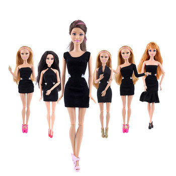 Black Mini Dress Doll Clothes Handmade Party Dress For Barbie Doll Clothing For Dolls Baby Toys For Children Kids Girls Gift New accessories new 11 5 12 doll clothes long tail evening party wedding party lace dress gift present for barbie outfit costumes