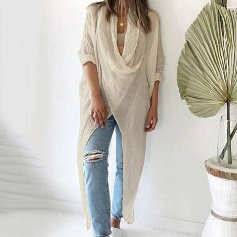 Плюс Размеры Для женщин женские повседневные блузки с длинным рукавом льняная блузка мешковатые Блузка для девочек летняя футболка для дев...