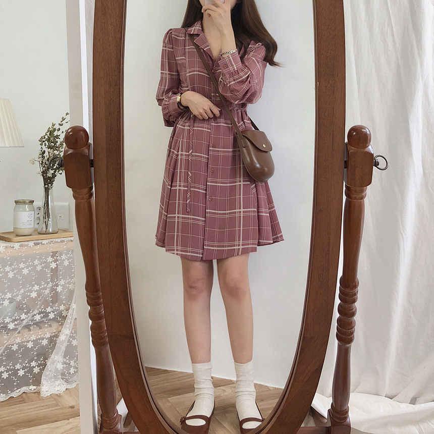 Flectit женское клетчатое мини-платье трапециевидной формы с длинным рукавом и отложным воротником, платье-рубашка в консервативном стиле, осенне-зимние платья *