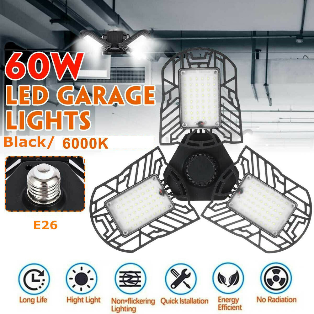 Super Bright E27 E26 UFO LED Light Garage Lamp Sensor Triple Glow Deformable Folding Industrial Lighting For Warehouses High Bay