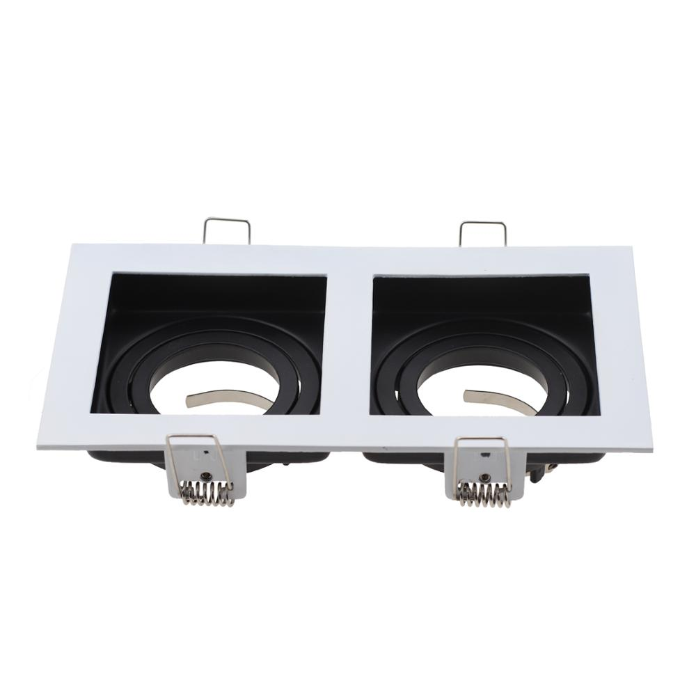 Square White Black Adjustable Recessed Spotlights Light Fixture Frame LED GU10 MR16 Bulb Commercial Zinc Alloy Lamp Fittings