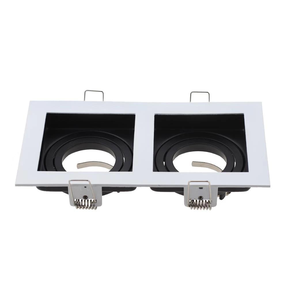 square white black adjustable recessed spotlights light fixture frame led gu10 mr16 bulb commercial zinc alloy lamp fittings
