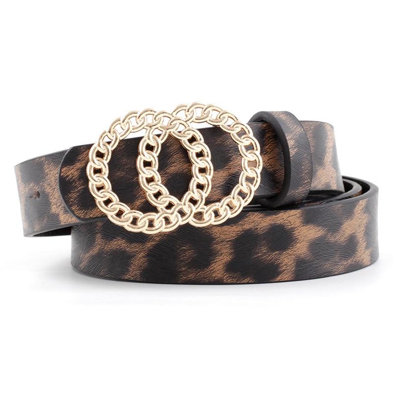 2020 Vintage Leopard Women's Belt Black White Brown Pink Wide Leather Belt Double Rings Buckles WaistBelts For Women Dress Strap