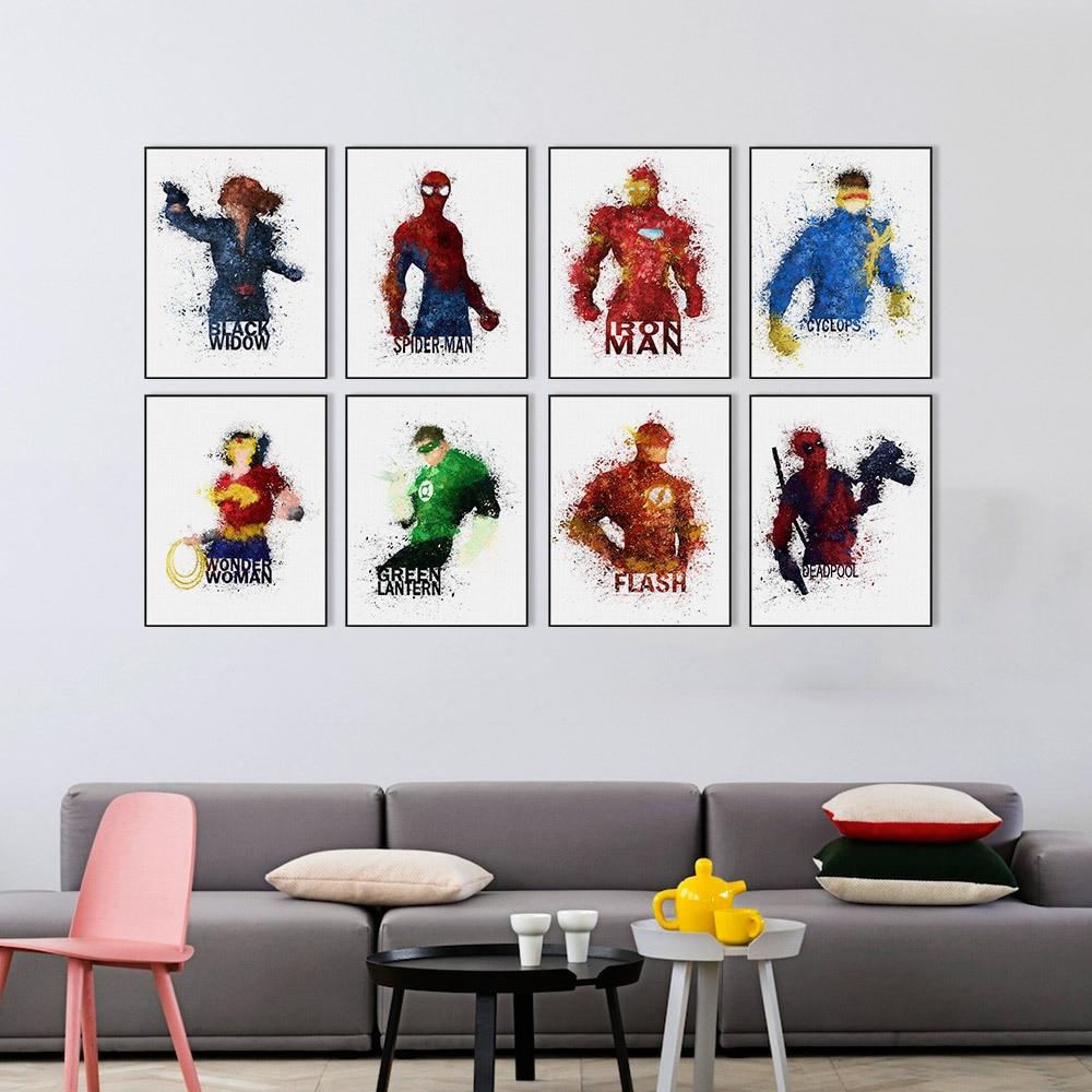 Marvel Comics Movie Poster Batman Superman Ironman Spiderman Captain American Wall Art Canvas Home Decor For Kids Boys Hulk
