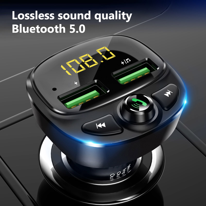 Konrisa FM Transmitter Bluetooth 5.0 Dual USB Car Charger Wireless Handsfree Car Kit FM Radio Adapter Support TF Card USB Driver