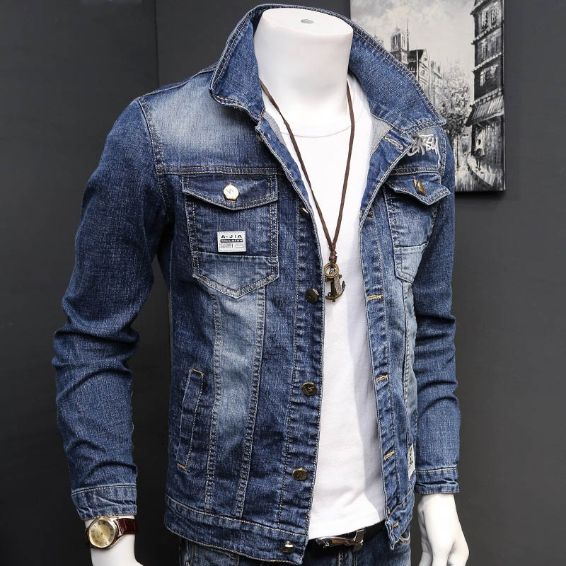 Fashion 2020 Denim Jacket Mens Letter Jacket Slim Embroidery Spring And Autumn Youth Stand-up Collar Long-sleeved Denim Coat