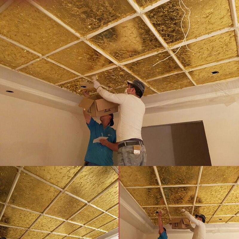 100Pcs Sheets Pure 24K Gold Foil Leaf Anti-Aging Gilding Food Decorations Handmade DIY Scrapbooking Craft Decoration Supplies