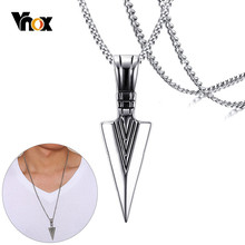 Mens Vintage Arrow Pendant Necklace Multi-Color Stainless Steel Male Rock Punk Jewelry(China)