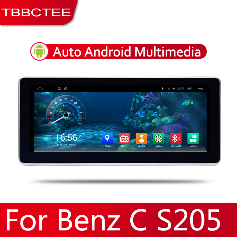 Car Android System 1080P IPS LCD Screen For Mercedes Benz C Class S205 2014 2019 Car Radio Player GPS Navigation BT WiFi AUX