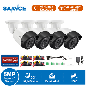 SANNCE 5MP Super HD Security Camera 4X 8X 100ft Night Vision Outdoor Surveillance CCTV Camera Waterproof Camera Kit AI Detection