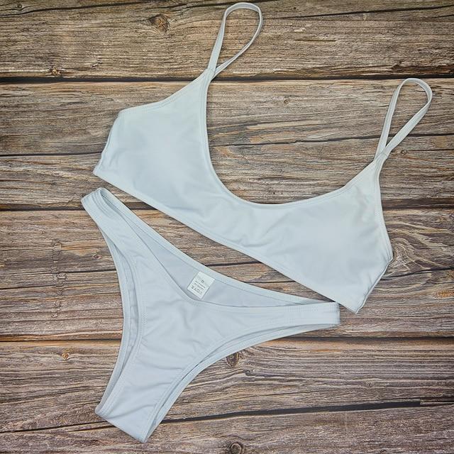 Solid Sexy Bikini Two-Piece Swimwear Women Swimming Suit Fashion Plus Size XL Sets Swimsuit Bathing Suit Female Biquini
