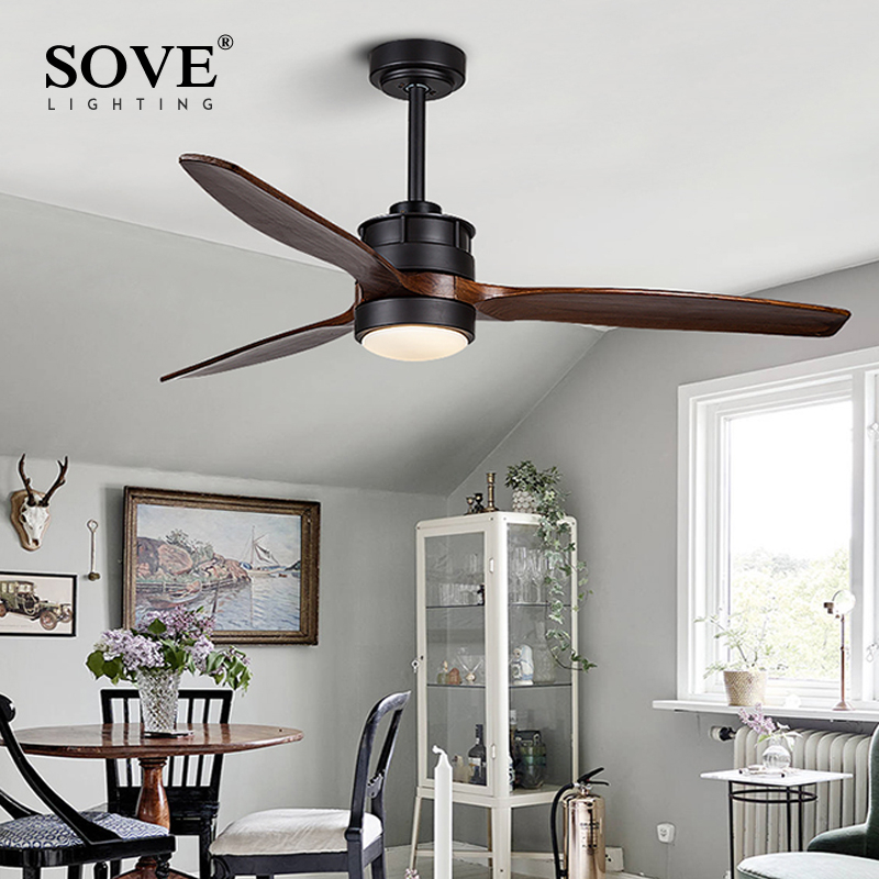 SOVE White Village Wooden Ceiling Light Fan Wood Remote Control Decorative Ceiling Fans With Lights Fan