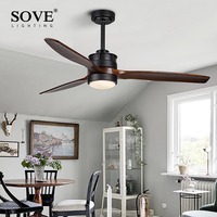 SOVE White Village Wooden Ceiling Light Fan Wood Remote Control Decorative Ceiling Fans With Lights Fan Lamp Ventilador De Techo