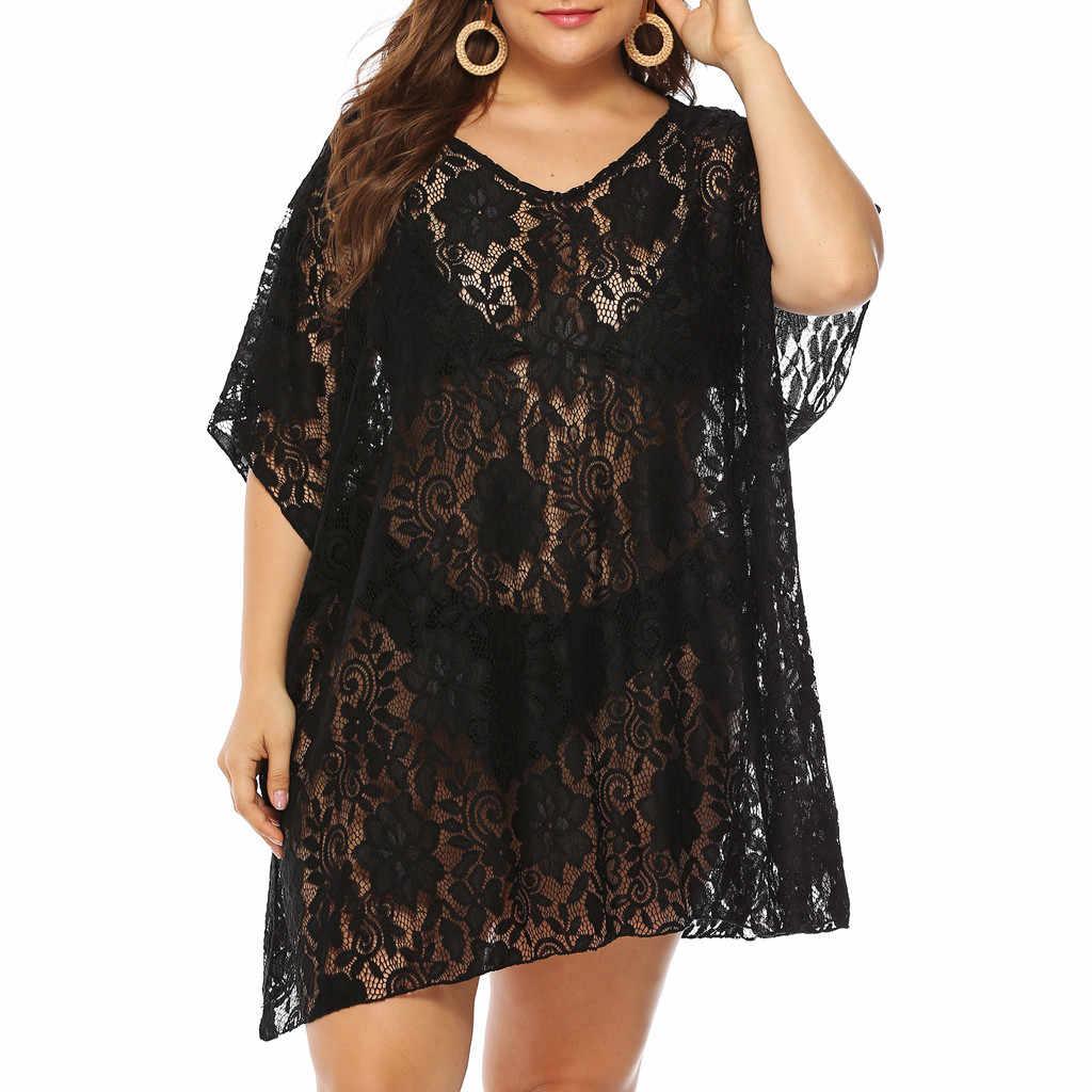 Cover Up letnia sukienka plażowa Plus rozmiar damski dekolt w serek rękaw w kształcie skrzydła nietoperza koronki czysty kolorowy pulower Smock wakacyjny kardigan kimono Plus rozmiar