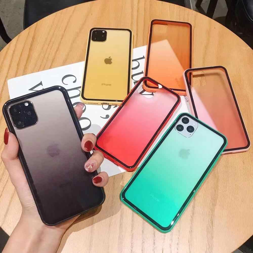 Gökkuşağı degrade şeker renk telefon kılıfı Apple iPhone 11 PR0 6 6s 7 8 artı 10 X XS XR max yumuşak şeffaf akrilik + TPU telefon kapak