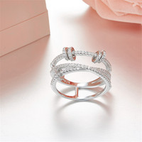 100% 925 Sterling Silver spinning Ring with small round circle Cubic Zirconia party rings For Women Wedding Monaco jewelry
