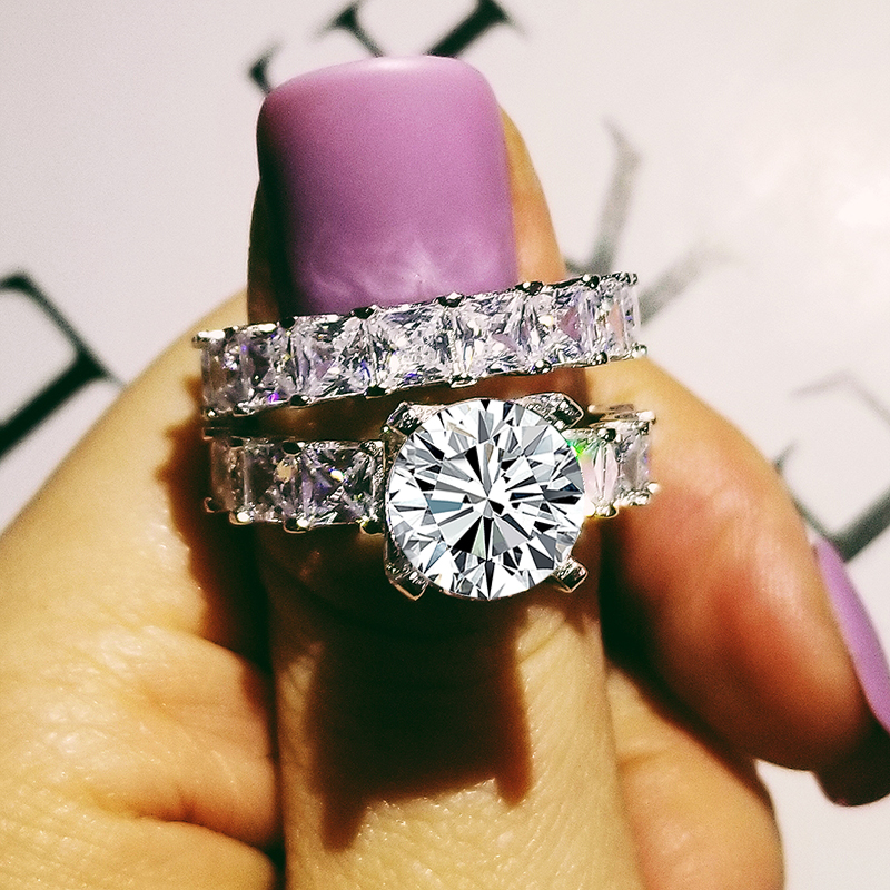 Mode à la mode noir couleur anneaux de mariage ensemble nuptiale classique bague de fiançailles pour les femmes de luxe bijoux nigeria cadeau R4869S