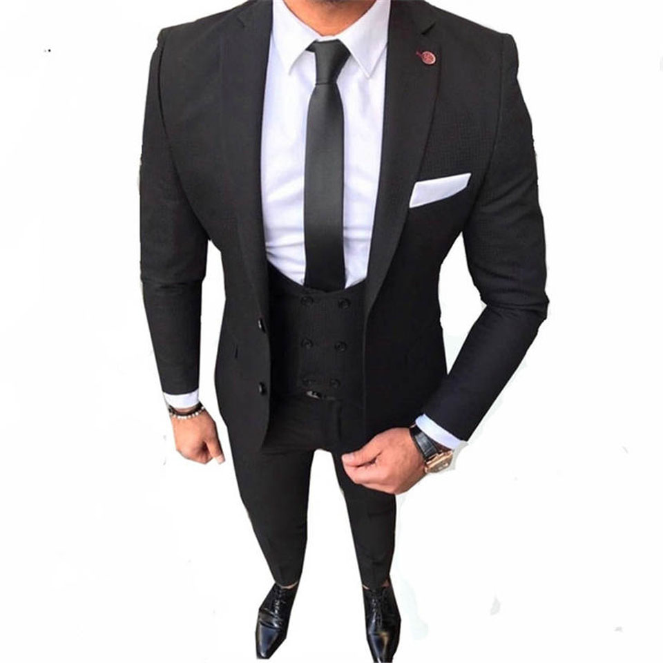 Latest Coat Pant Designs Black Color Two Buttons Casual Men Suit Slim Fit 3 Pieces Formal Tuxedo Custom Prom Party Blazer best 1