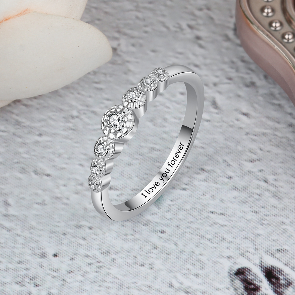 Personalized 925 Sterling Silver Promise Rings for Women Custom Engraved Engagement Wedding Rings Jewelry Gift for Her