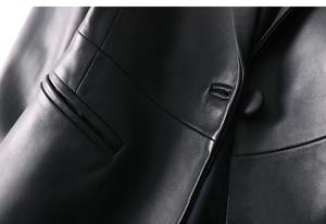 Image 4 - OFTBUY 2020 office ladies blazer feminino elegant blazer women blazers and jackets real sheepskin leather jacket black coat