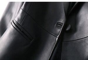 Image 4 - Oftbuy 2020 Office Dames Blazer Feminino Elegante Blazer Vrouwen Blazers En Jassen Echte Schapenvacht Lederen Jas Zwarte Jas