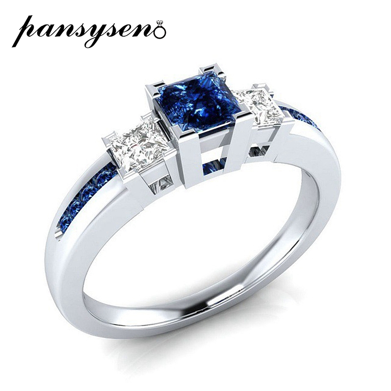 PANSYSEN New 2019 Natural Gemstone Engagement Rings For Women Solid 925 Sterling Silver Jewelry Ring Wedding Party Gift 4 Colors