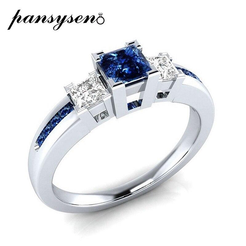 PANSYSEN nouveau 2019 pierres précieuses naturelles bagues de fiançailles pour les femmes solide 925 en argent Sterling bijoux anneau de mariage fête cadeau 4 couleurs