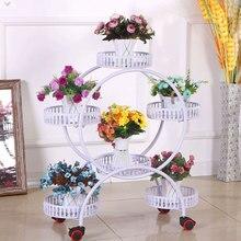 Metal Multilayer Decorative Flower Stand Iron Art Flowerpot Rack Multistory Flowerpot Holder Floor Stand With Wheel White