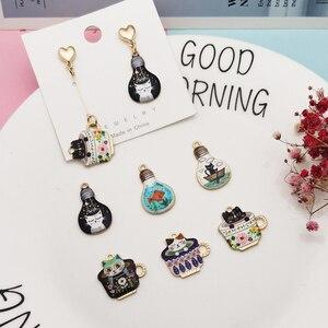 10pcs Light Bulb Cat Cup Cat Enamel Charms Dangle Jewelry Earrings Bracelet DIY Accessoy Cute Animals Pendants Golden Base YZ775