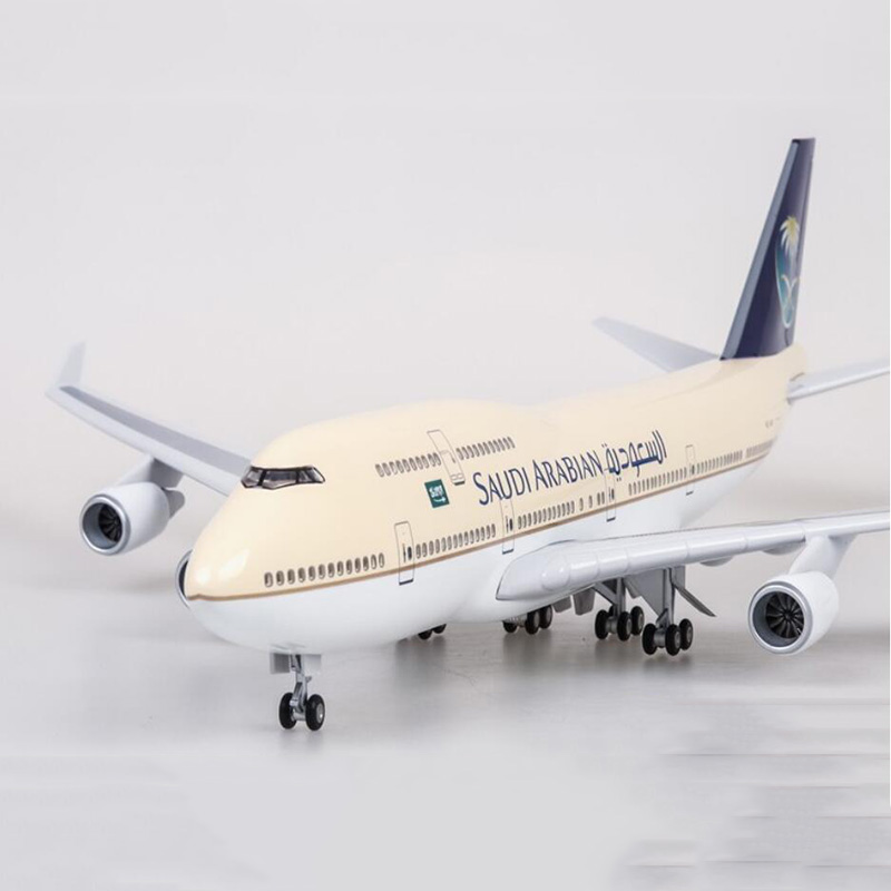 1/150 Scale 47cm Airplane Boeing B747-400 Aircraft Saudi Arabian Airlines Model W Light And Wheels Diecast Plastic Plane