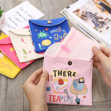 Women's Girls Sanitary Cotton Storage Bag Portable Canvas Sanitary Wrapping Bag Coin Purse Jewelry Storage Bag Credit Card Bag banjini bathroom bagping bagping court bag patch card cotton