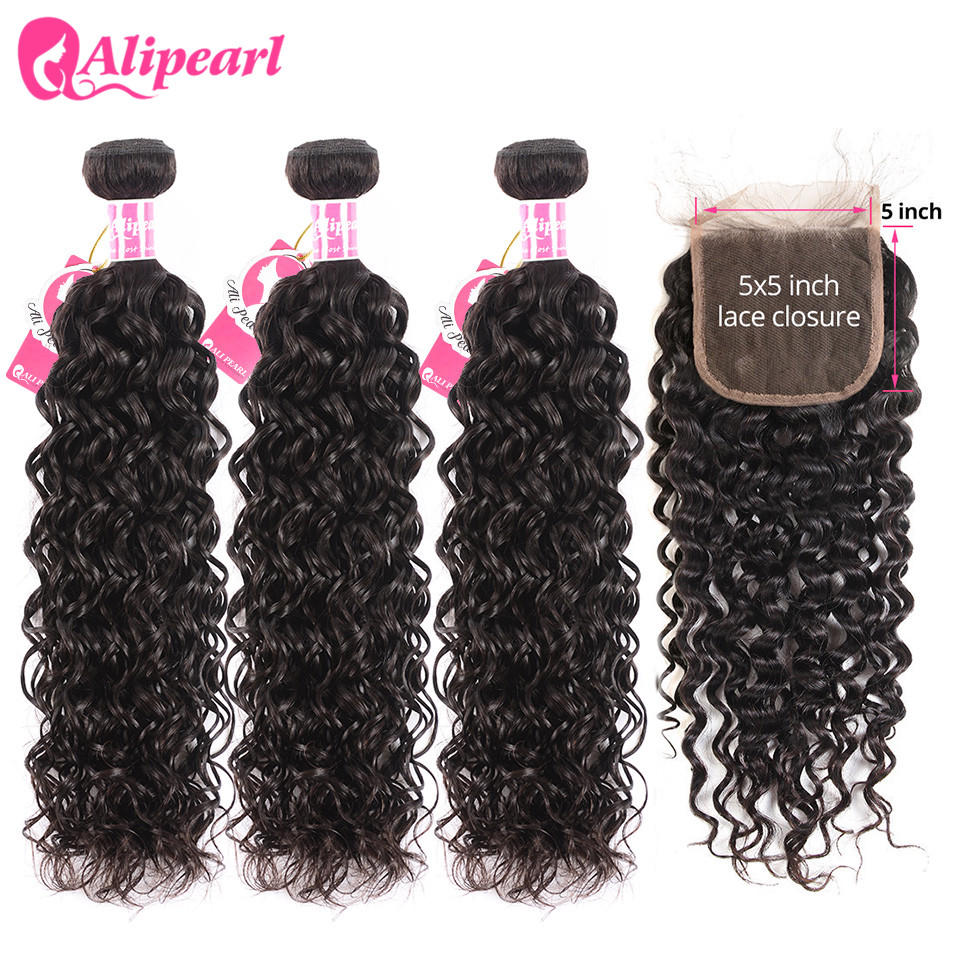 Alipearl Hair Water Wave Bundles With Closure Brazilian Hair Weave 3 Bundles With 5x5 Closure Natural Color Remy Hair Extension
