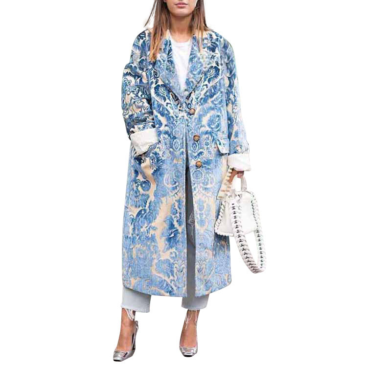 Fashion Coat Print Autumn Women Outwear Long-Sleeve Pattern Casual Turn-Down-Collar