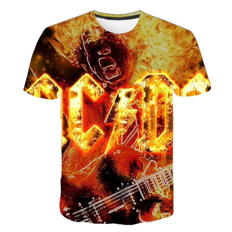 ACDC Summer 3DT Youth Short Sleeve Casual T-shirt Street Children Beach Men's And Women's T-shirt Rou