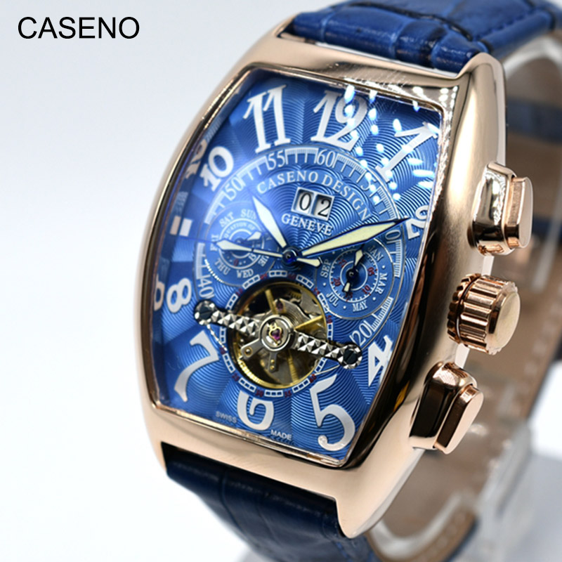 Automatic Mechanical Men Watch Fashion Skeleton Leather Wristwatch Top Brand Luxury Tourbillon Clock Classic CASEN 2020
