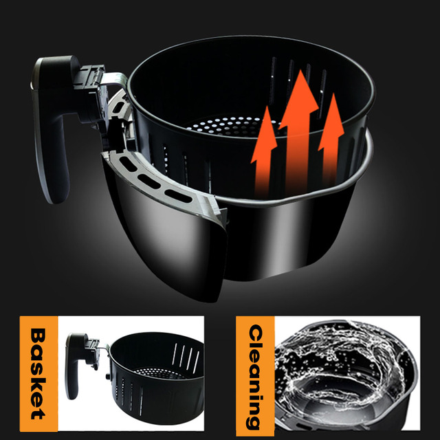 5.5L Electric Air Fryer Multi-function Pan With Basket Health Chip Oil Free Oven Cooker LED Touch Screen Non-stick Pot Coating 3
