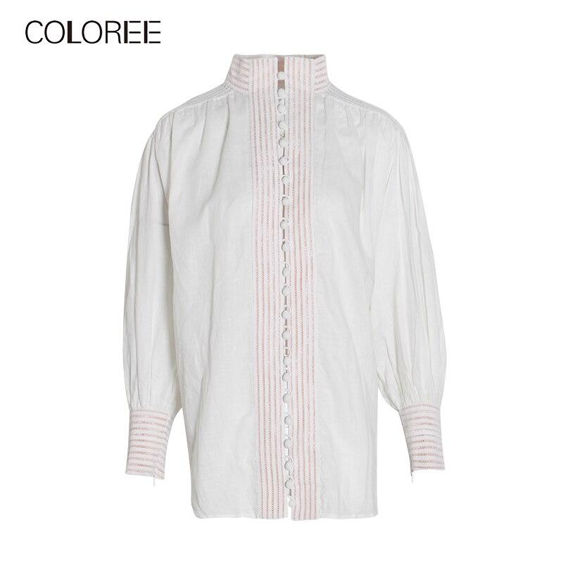 Automne manches longues blanc noir femmes chemise 2019 col montant lanterne manches lâche blouses décontractées femmes - 5