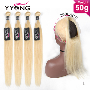 YYong 50g 613 Blond Bundles With 360 Frontal 4/5 Bundles Brazilian Straight 613 Honey Blonde 360 Lace Frontal With Bundles(China)